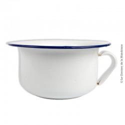 Le Grenier de la Mandoune. Ancien vase de nuit / Pot de chambre en tôle émaillée, blanc liseré marine