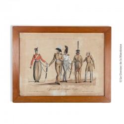 Gravure en couleurs eau forte sur acier, Armée des Souverains Alliés année 1814. N°1