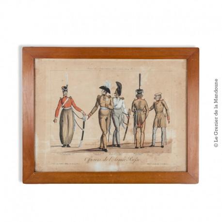 Le Grenier de la Mandoune. Gravure en couleurs eau forte sur acier, Armée des Souverains Alliés année 1814. N°1