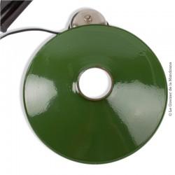 Ancienne lampe suspension en tôle émaillée verte, gamelle vintage