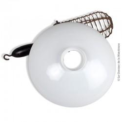 Abat-jour opaline blanche vintage