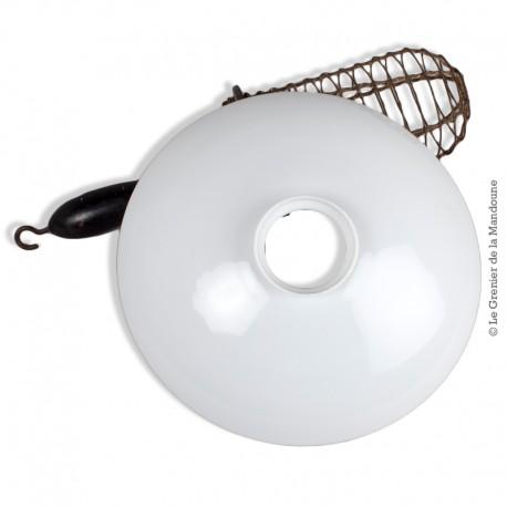 Le Grenier de la Mandoune. Abat-jour opaline blanche vintage
