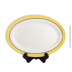 Plat ovale vintage SALINS modèle Monton Jaune, Liseré Jaune et Noir, Made in France