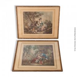 Paire de gravures de Daullé 1756, encadrées