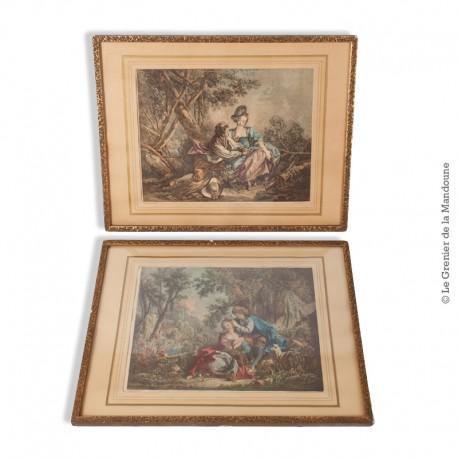 Le Grenier de la Mandoune. Paire de gravures de Daullé 1756, encadrées