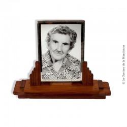 Le Grenier de la Mandoune. Ancien cadre porte photo en bois et verre biseauté 18 cm, déco rétro vintage