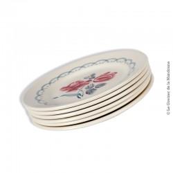 Le Grenier de la Mandoune. 6 assiettes à dessert Digoin Sarreguemines, modèle CANNES. French Antique