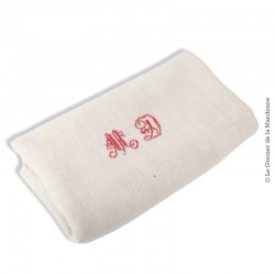 Le Grenier de la Mandoune. Grand Torchon ou nappe coton/lin écru Monogrammes MD