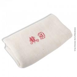 Grand Torchon ou nappe coton/lin écru Monogrammes MD