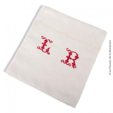 Le Grenier de la Mandoune. Ancien torchon en coton damassé à damiers coton, monogrammes LR