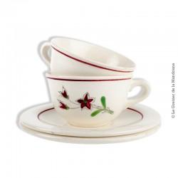 2 tasses à café avec soucoupes, faïencerie Salins. French Antique