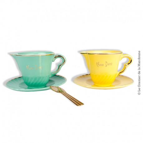 """Le Grenier de la Mandoune. 2 pots à lait """"Nous deux"""" vintage - Faïence française de Salins 1950"""