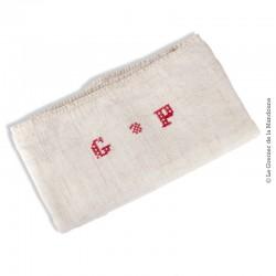 Grand Torchon Lin écru Monogrammes GP rouge