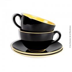 2 déjeuners céramique noir et jaune Villeroy & Boch. Années 50/60