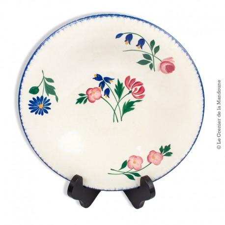 Le Grenier de la Mandoune. Assiette creuse Céranord St Amand France, modèle Flore