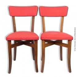 Le Grenier de la Mandoune. 2 chaises tissu rouge d'origine, vintage années 60