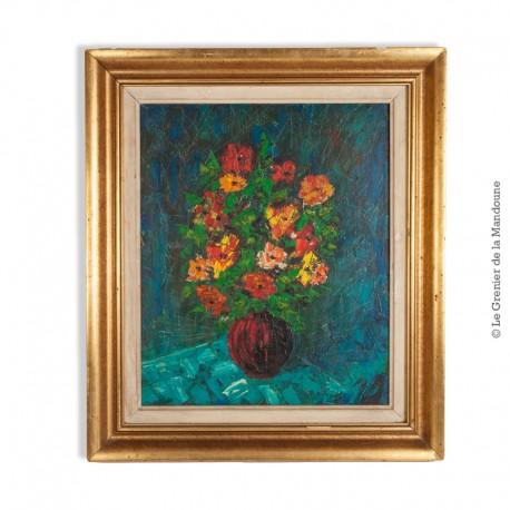Le Grenier de la Mandoune. Huile sur toile nature morte au bouquet de fleurs, encadré, signé
