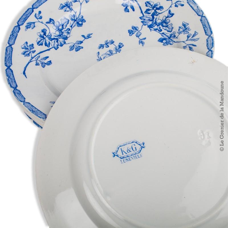 assiette arcopal fleur bleue
