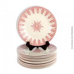 Le Grenier de la Mandoune. Lot de 12 assiettes Porcelaine Opaque de Gien, Terre de Fer, modèle ANNAM. 1886-1938
