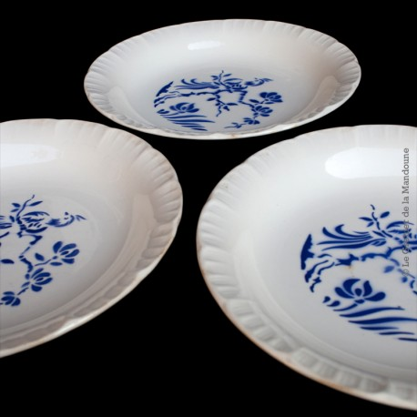 3 assiettes anciennes faïence DIGOIN SARREGUEMINES FRANCE, Collection PARADIS