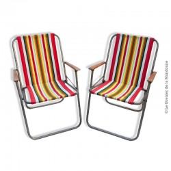 Paire de chaises pliante de camping, tissu d'origine à rayures, vintage