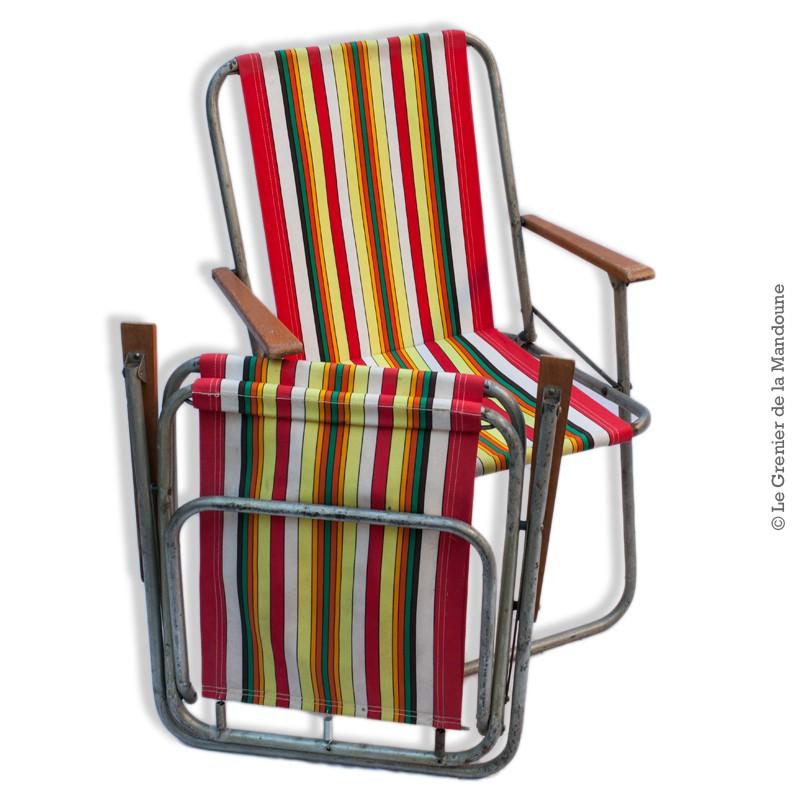 Paire De Chaises Pliante De Camping Tissu D Origine A Rayures Vintage