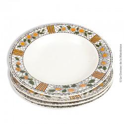 4 assiettes creuses HB CM, collection Elisabeth, Faïence de Choisy-le-Roi entre 1929 et 1955