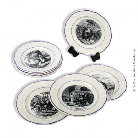 Le Grenier de la Mandoune. Lot de 8 Assiettes parlantes, de la série « Jésus… »  H.B. Choisy-le-Roi, XIXe siècle