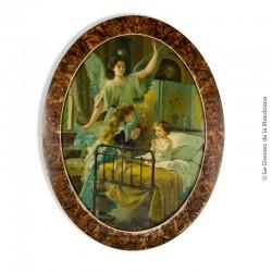 Chromolithographie  l'Ange gardien vers 1900, sous verre , encadrement ovale, 46 x 36 cm