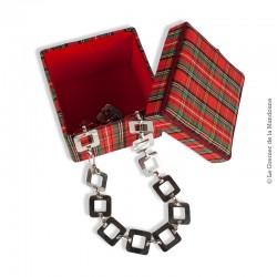 Boîte à bijoux carré en tissus écossais (madras) vintage