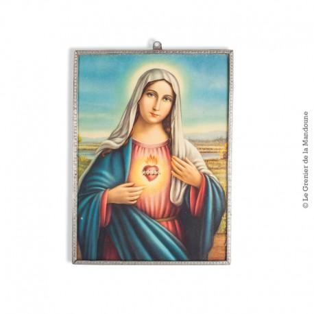 Le Grenier de la Mandoune. Ancienne image imprimée de la Vierge Marie, encadrement d'origine en alliage d'étain