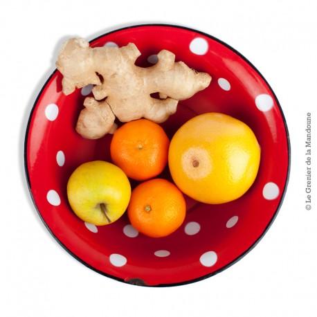 Le Grenier de la Mandoune. Ancienne petit saladier en tôle émaillée rouge a pois blanc