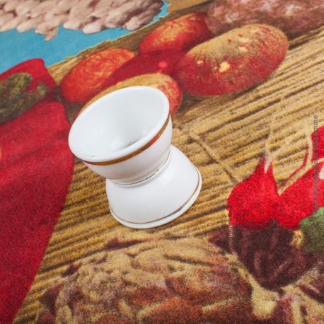 Le Grenier de la Mandoune. 1 coquetier ancien fait main, de forme Diabolo, en faïence blanche ornée de 3 liserés Or