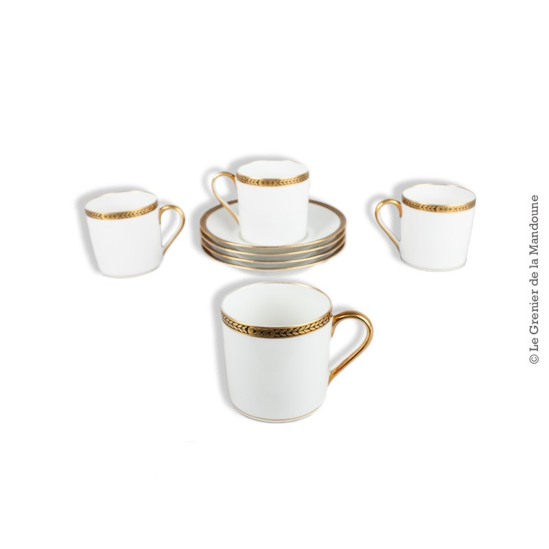4 tasses caf porcelaine de limoges charles ahrenfeldt vers 1930. Black Bedroom Furniture Sets. Home Design Ideas