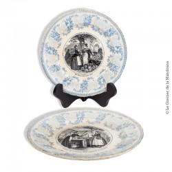 Le Grenier de la Mandoune. 2 Assiettes parlantes Bordeaux J. Vieillard & C « Marchés de Paris ». 1845 - 1865