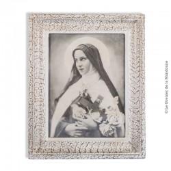 Ancienne photographie d'allégorie de la Sainte Vierge, sous verre, cadre bois. Vers 1940, 1950