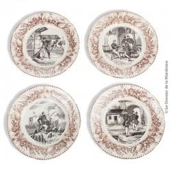 Le Grenier de la Mandoune. Lot de 4 assiettes parlantes Choisy Hautin Boulenger Militaires. French Antique