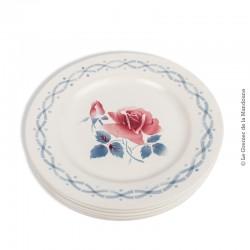 2 assiettes plates modèle JANINE, Digoin Sarreguemines, France