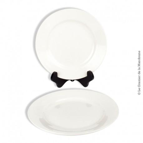 Le Grenier de la Mandoune. 2 assiettes blanches Digoin Sarreguemines, 19ème siècle