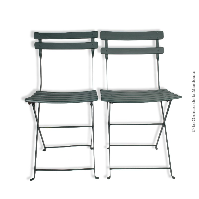 2 Anciennes Chaises pliantes de jardin, bois et fer