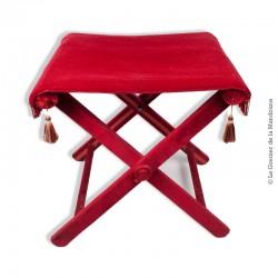 Le Grenier de la Mandoune. Ancien tabouret pliant en velours rouge Style Napoléon III