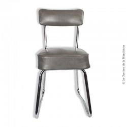 Chaise de bureau industrielle, métal et assise en skaï gris