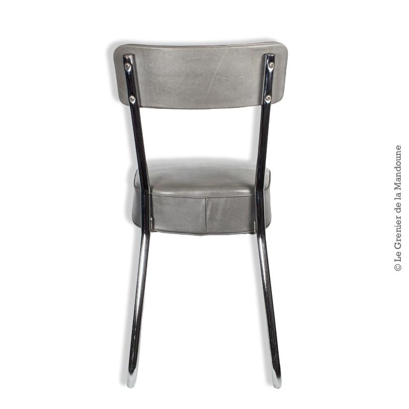 chaise de bureau industrielle m tal et assise en ska gris. Black Bedroom Furniture Sets. Home Design Ideas