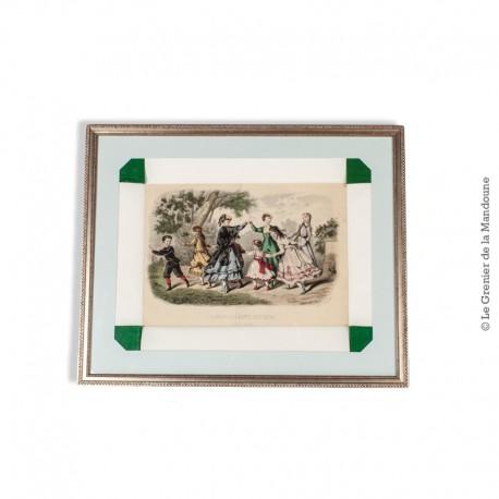 Le Grenier de la Mandoune. Gravure LA MODA ELEGANTE ILLUSTRA, sous verre et encadrée. Vintage