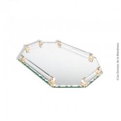 Le Grenier de la Mandoune. Plateau Art-Déco miroir Octogonal ciselé et verre Saint Gobain