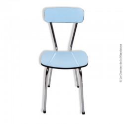 Le Grenier de la Mandoune. Chaise formica bleu pieds chrome vintage Loft. Vintage 1960