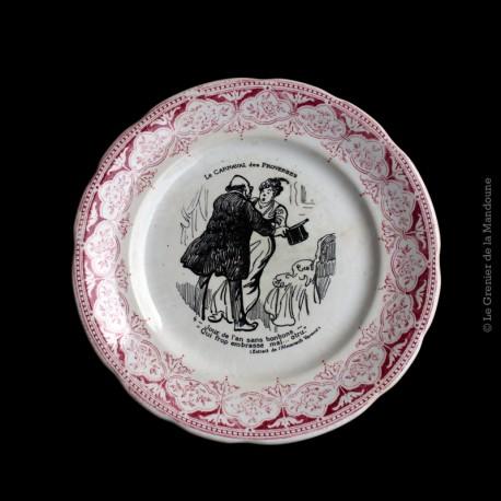 Assiette parlante DIGOIN Sarreguemines Carnaval des proverbes n°4 - Jour de l'an 1875 - 1900