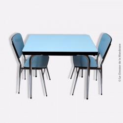 Table Formica et ses 2 chaises bleu et acier chromé vintage 1960