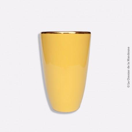Ancien Gorbon Vase en céramique jaune liseré or