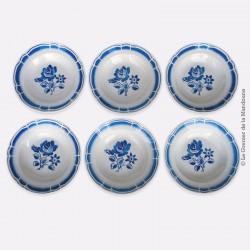6 assiettes creuses Badonviller, motif fleurs bleues (pivoines). French Antique